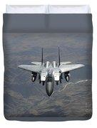 An F-15e Strike Eagle Flies Watch Duvet Cover