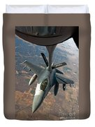 An F-16 Fighting Falcon Receiving Fuel Duvet Cover