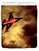 An F-16 Flies Through Hell Duvet Cover