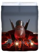An Fa-18f Super Hornet Parked Duvet Cover