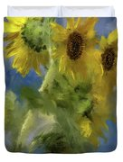 An Impression Of Sunflowers In The Sun Duvet Cover
