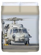 An Mh-60r Seahawk Embarked Aboard Uss Duvet Cover