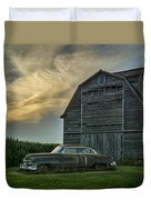 An Old Cadillac By A Barn And Cornfield Duvet Cover