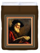 An Old Man Reading P B With Decorative Ornate Printed Frame. Duvet Cover