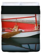 An Old Sailboat Tied To The Dock Duvet Cover