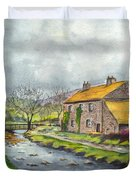 An Old Stone Cottage In Great Britain Duvet Cover