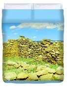 An Old Wall At The Pecos Ruins Duvet Cover