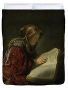 An Old Woman Reading - Prophetess Hannah Duvet Cover