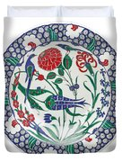 An Ottoman Iznik Style Floral Design Pottery Polychrome, By Adam Asar, No 1 Duvet Cover
