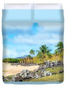 Anakena At Easter Island Duvet Cover