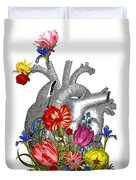Anatomical Heart With Colorful Flowers Duvet Cover
