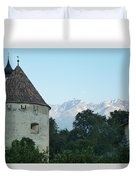 Ancient Building And Mountains Duvet Cover