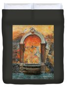 Ancient Italian Fountain Duvet Cover