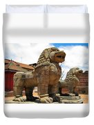Ancient Lions In Nepal Duvet Cover