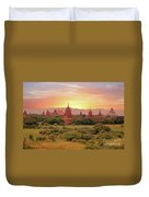 Ancient Pagodas In The Countryside From Bagan In Myanmar At Suns Duvet Cover