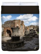 Ancient Pompeii - Bakery Of Modestus Millstones And Bread Oven Duvet Cover