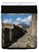 Ancient Pompeii - Empty Street And Mount Vesuvius Volcano That Caused It All Duvet Cover