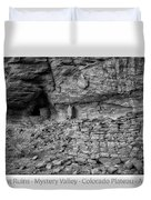 Ancient Ruins Mystery Valley Colorado Plateau Arizona 02 Bw Text Duvet Cover