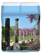 Ancient Ruins Tree By Columns Duvet Cover