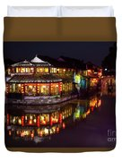 Ancient Style Restaurant On Water By Stone Bridge Duvet Cover