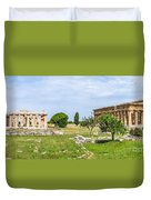 Ancient Temple At Famous Paestum Archaeological, Italy Duvet Cover