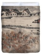 Ancient Town River Paintingancient Town River Painting Duvet Cover