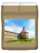 Ancient Wall And Tower Of The Fortress Oreshek Duvet Cover