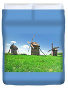 Ancient Windmills In Field Duvet Cover