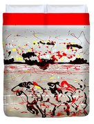 And Down The Stretch They Come Duvet Cover by J R Seymour