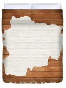 Andorra Rustic Map On Wood Duvet Cover