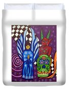 Angel And Devil-day Of The Dead Duvet Cover