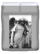 Angel On The Ground At Cavalry Cemetery, Nyc, Ny Duvet Cover