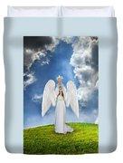 Angel Releasing A Dove Duvet Cover by Jill Battaglia
