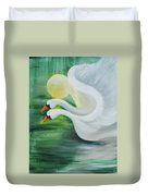 Angel Swans Duvet Cover
