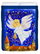 Angel With Christmas Bell Duvet Cover