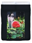 Angel With Roses 2 Duvet Cover