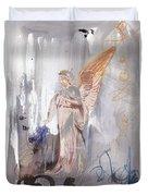Angel Writing Doodles In Spirit Duvet Cover