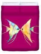 Angelfish Kissing Duvet Cover by Hailey E Herrera