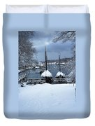 Angelique And Lewis R French In The Snow Duvet Cover