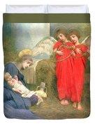 Angels Entertaining The Holy Child Duvet Cover