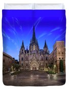 Angels Flying In Front Of The Cathedral Of The Holy Cross And Sa Duvet Cover