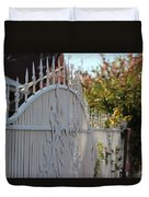 Angled Closeup Of White Washed Iron Gate To Garden Duvet Cover