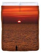 Angler In Summer Sunset Duvet Cover