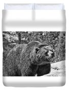 Angry Bear Black And White Duvet Cover