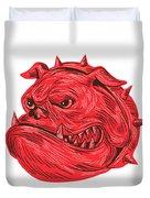 Angry Bulldog Head Drawing Duvet Cover
