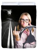 Angry Business Woman Expressing Road Rage Duvet Cover