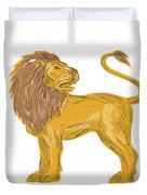 Angry Lion Big Cat Roaring Drawing Duvet Cover