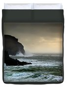 Ochre Sky's And Angry Seas 1 Duvet Cover