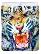 Angry Tiger Watercolor Close-up Duvet Cover