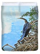 Anhinga In The Clouds Duvet Cover